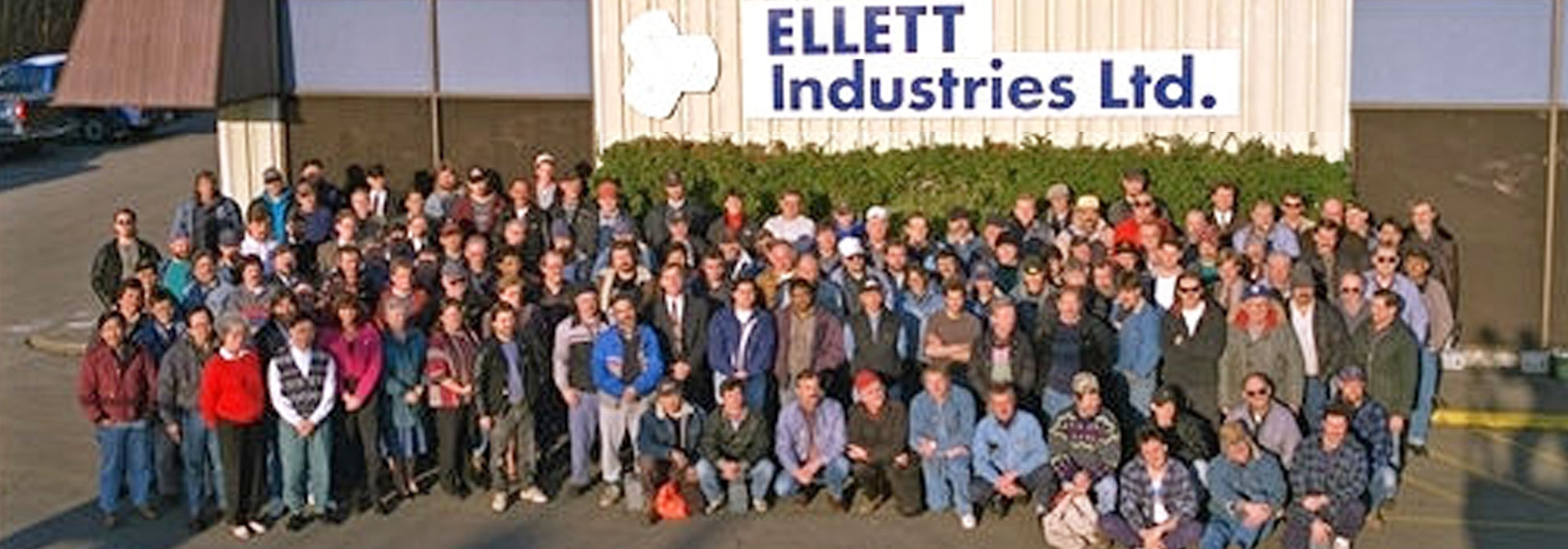 Ellett Industries employees gathered for a group photo on the company's 75th anniversary