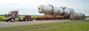 massive evaporator being transported to site by Ellett Industries